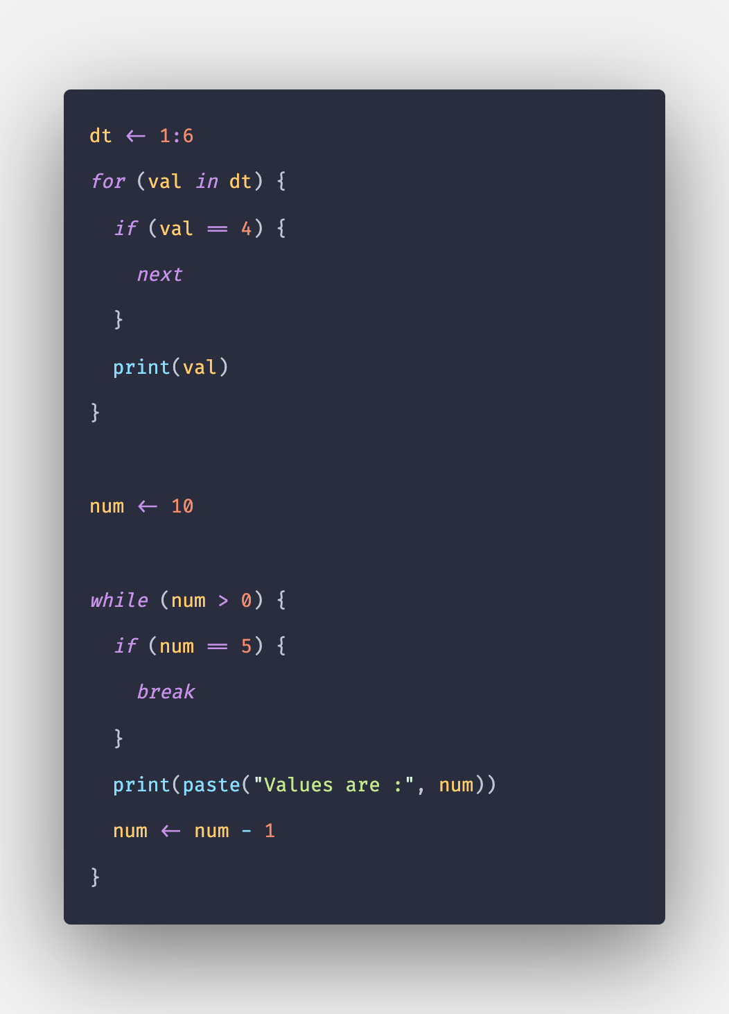 R Next and Break Statement with Example