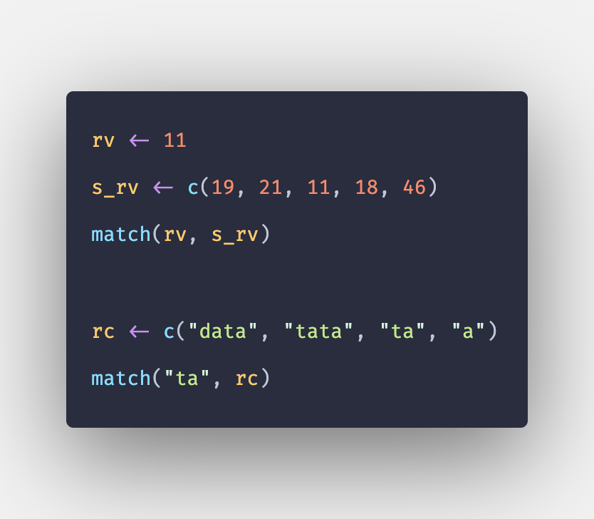 R match() Function - How to Match Elements in R