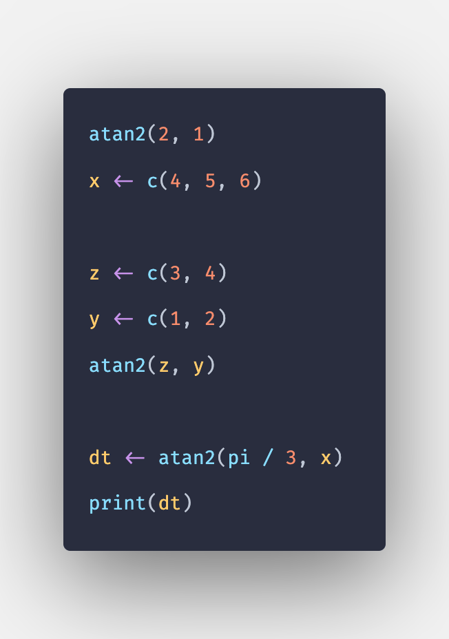 atan2() Function in R with Example